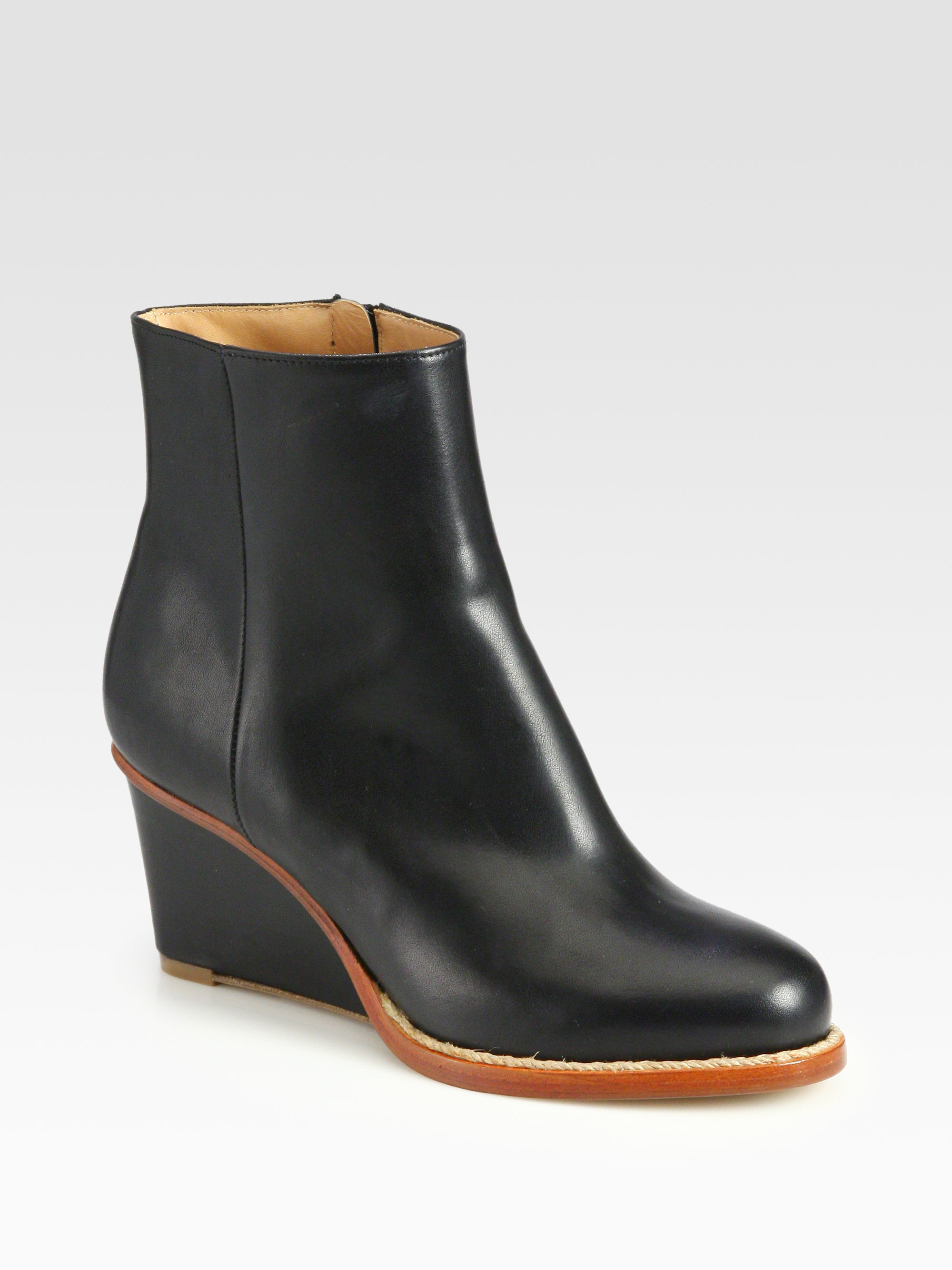 maison margiela leather wedge ankle boots in black anthracite lyst. Black Bedroom Furniture Sets. Home Design Ideas