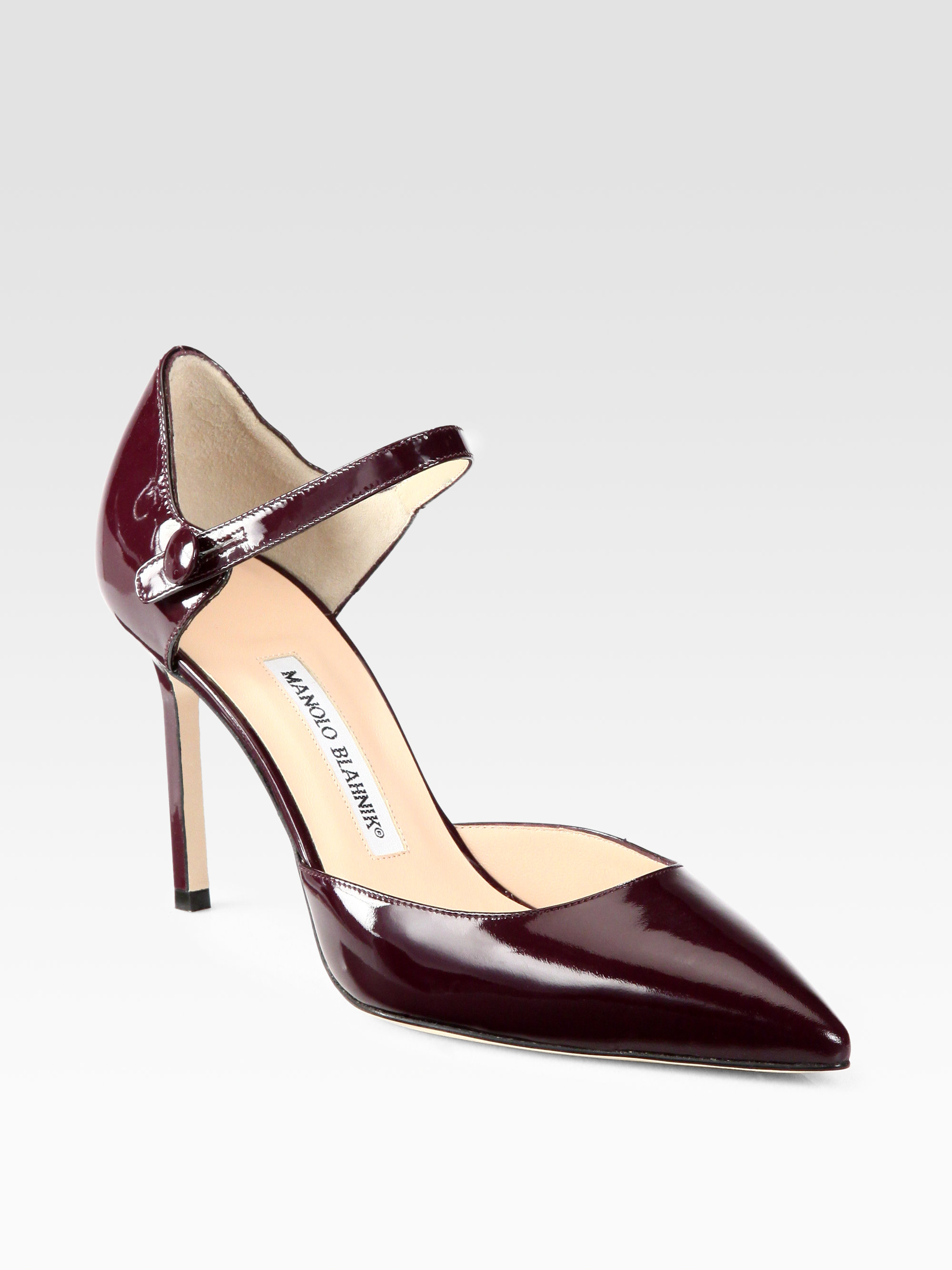 1248cdc2429b3 Manolo Blahnik Norvany Patent Leather Mary Jane Pumps in Purple - Lyst