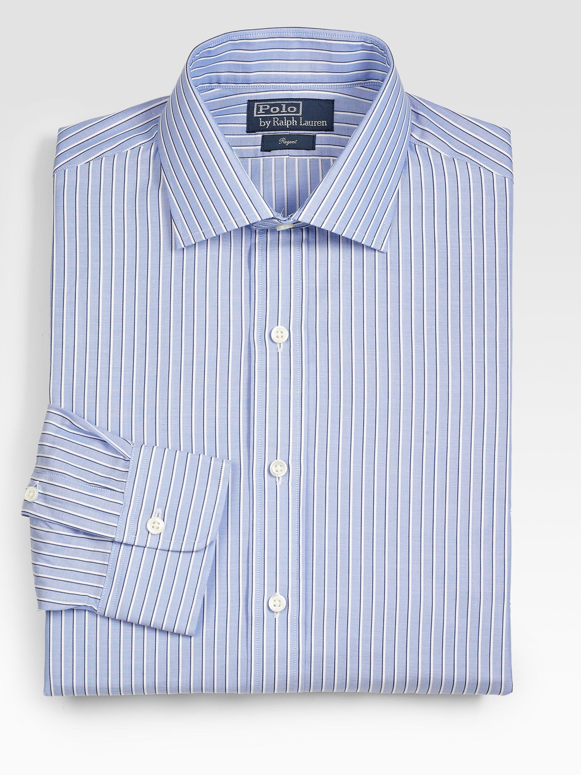 Polo ralph lauren customfit striped regent shirt in blue for Custom fit dress shirts