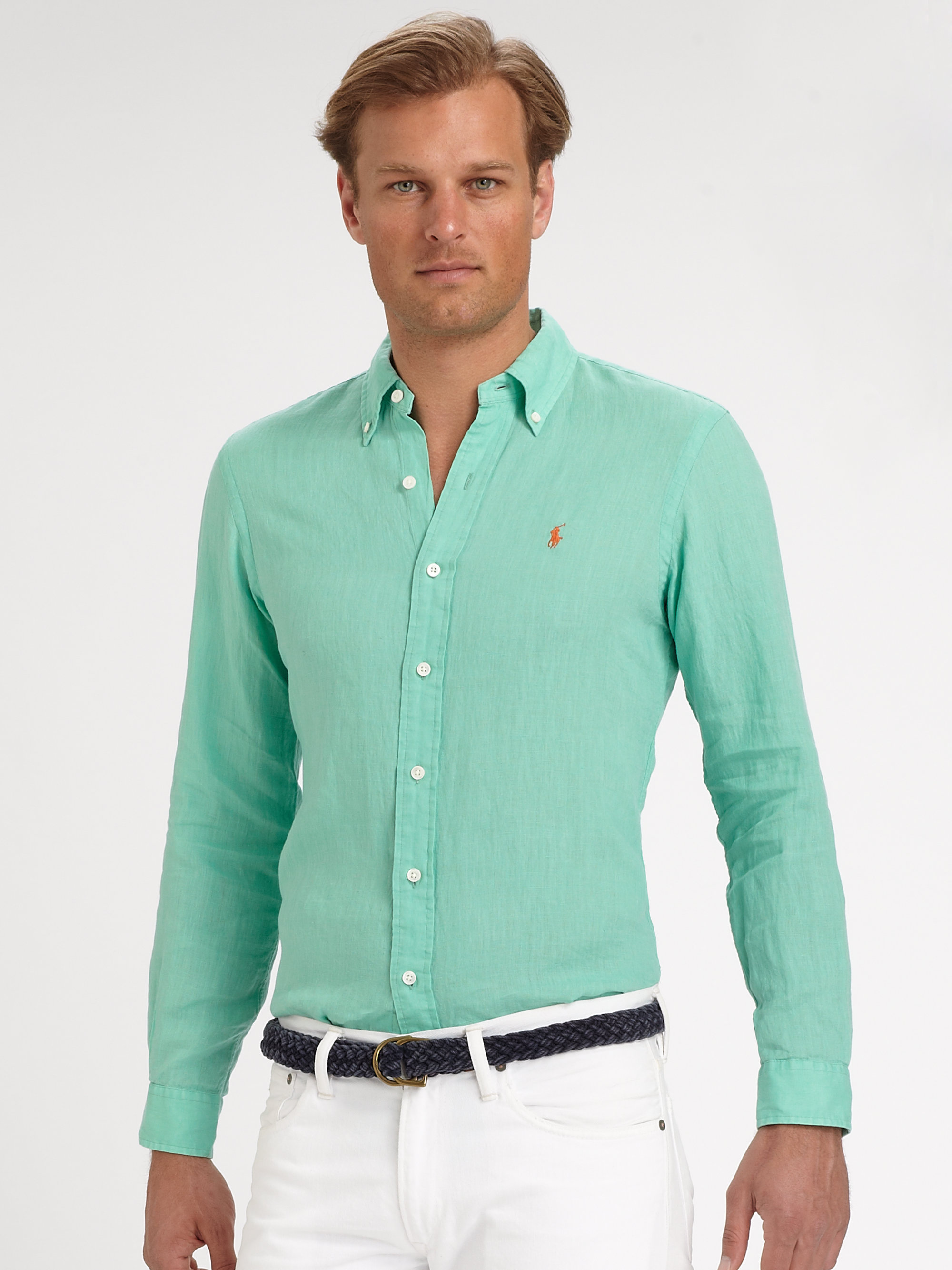 polo ralph lauren custom fit linen sport shirt in green