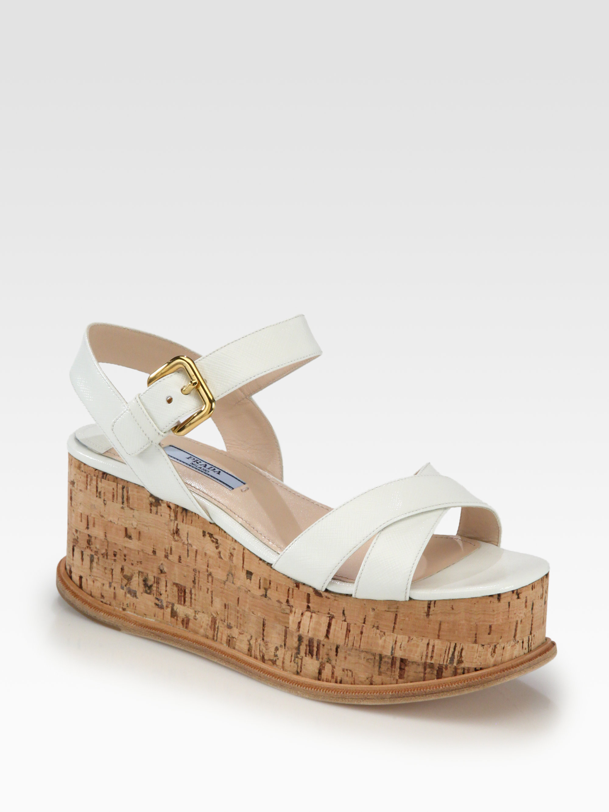 White Uzpgvmqs Cork Leather Sandals Saffiano Prada In Patent Wedge Lyst thdBrCsQx