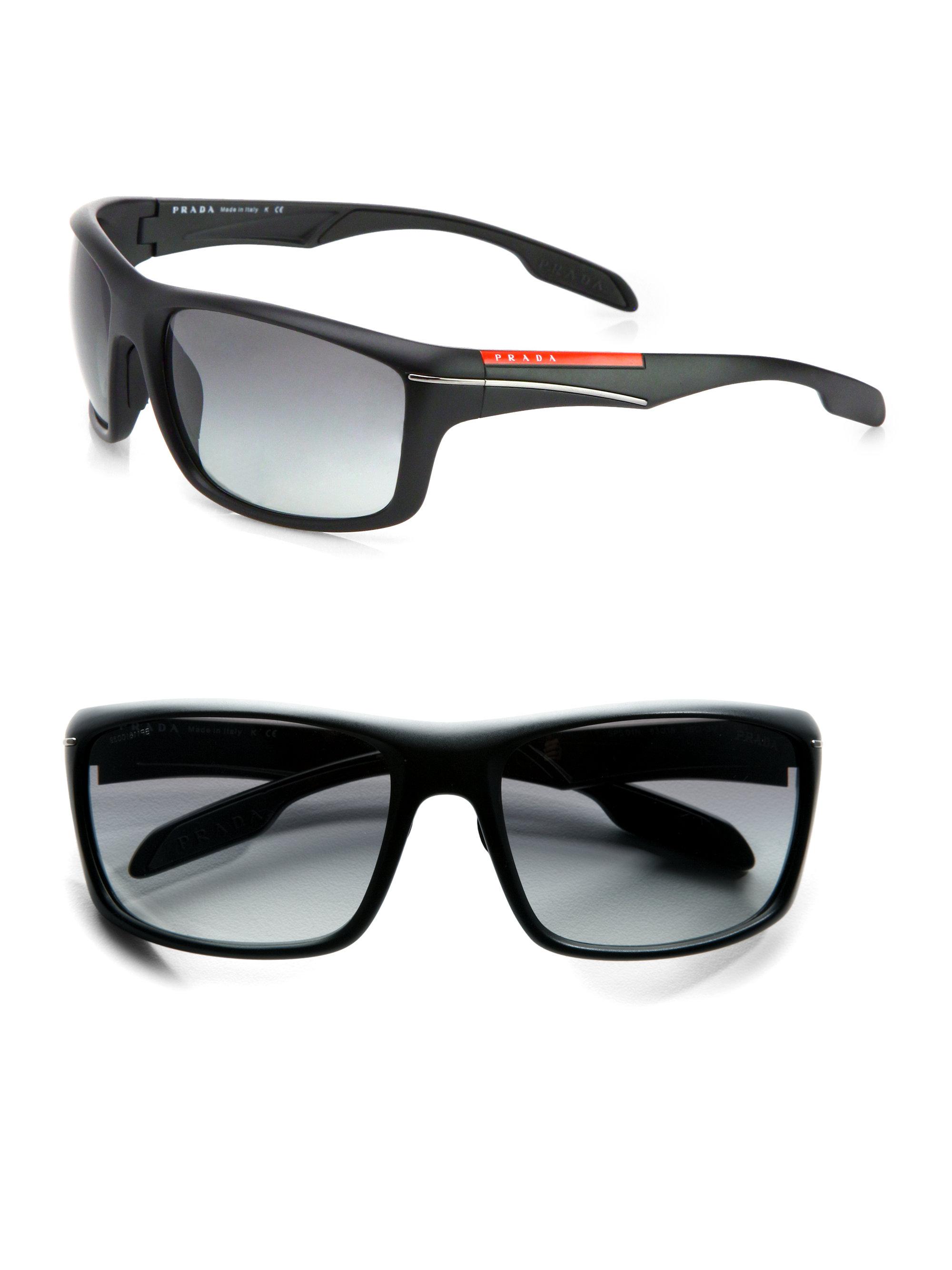 2dca1ec7e96 Lyst - Prada Sport Wrap Sunglasses in Black for Men
