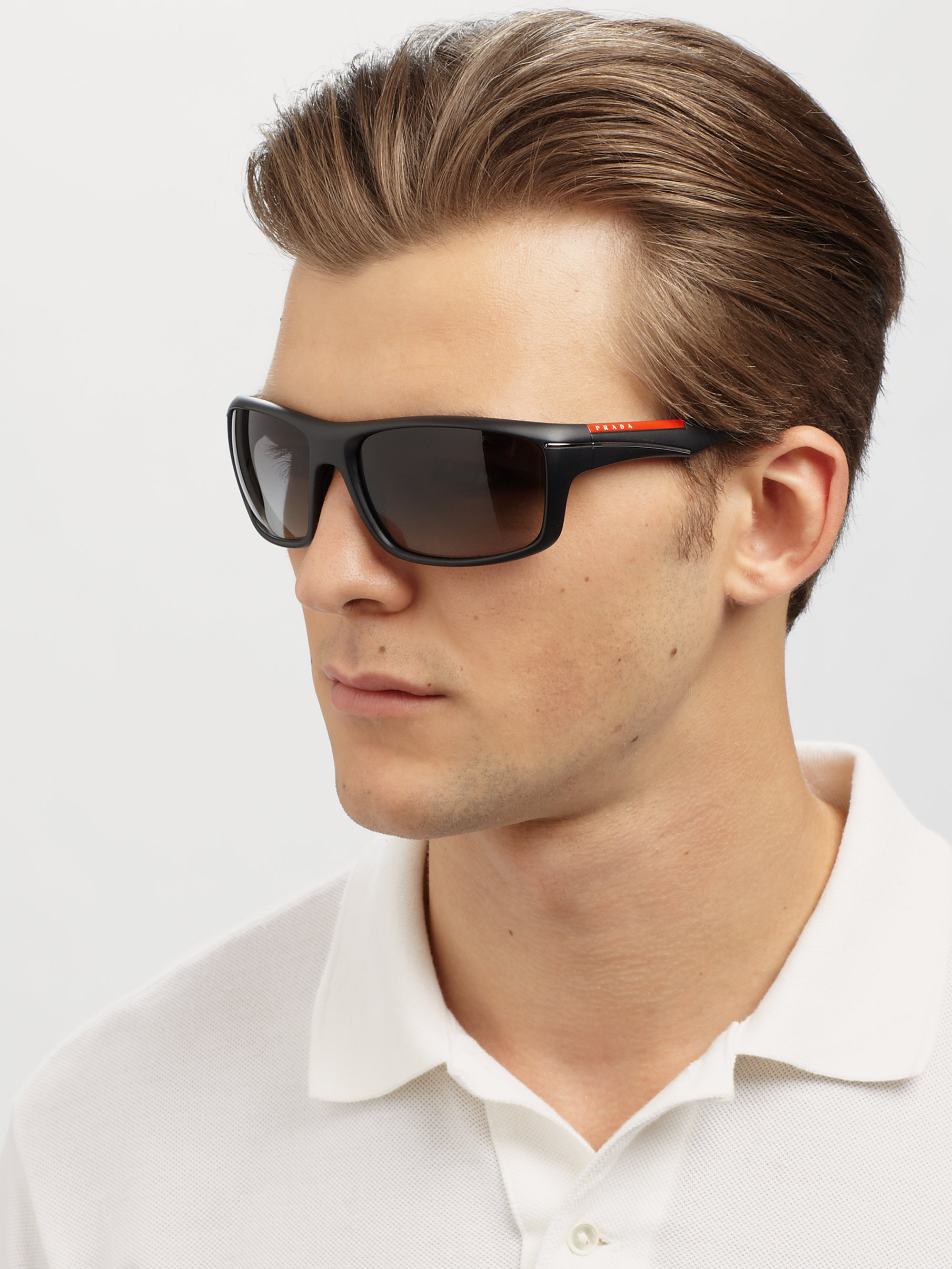 Prada Sport Wrap Sunglasses In Black For Men Lyst