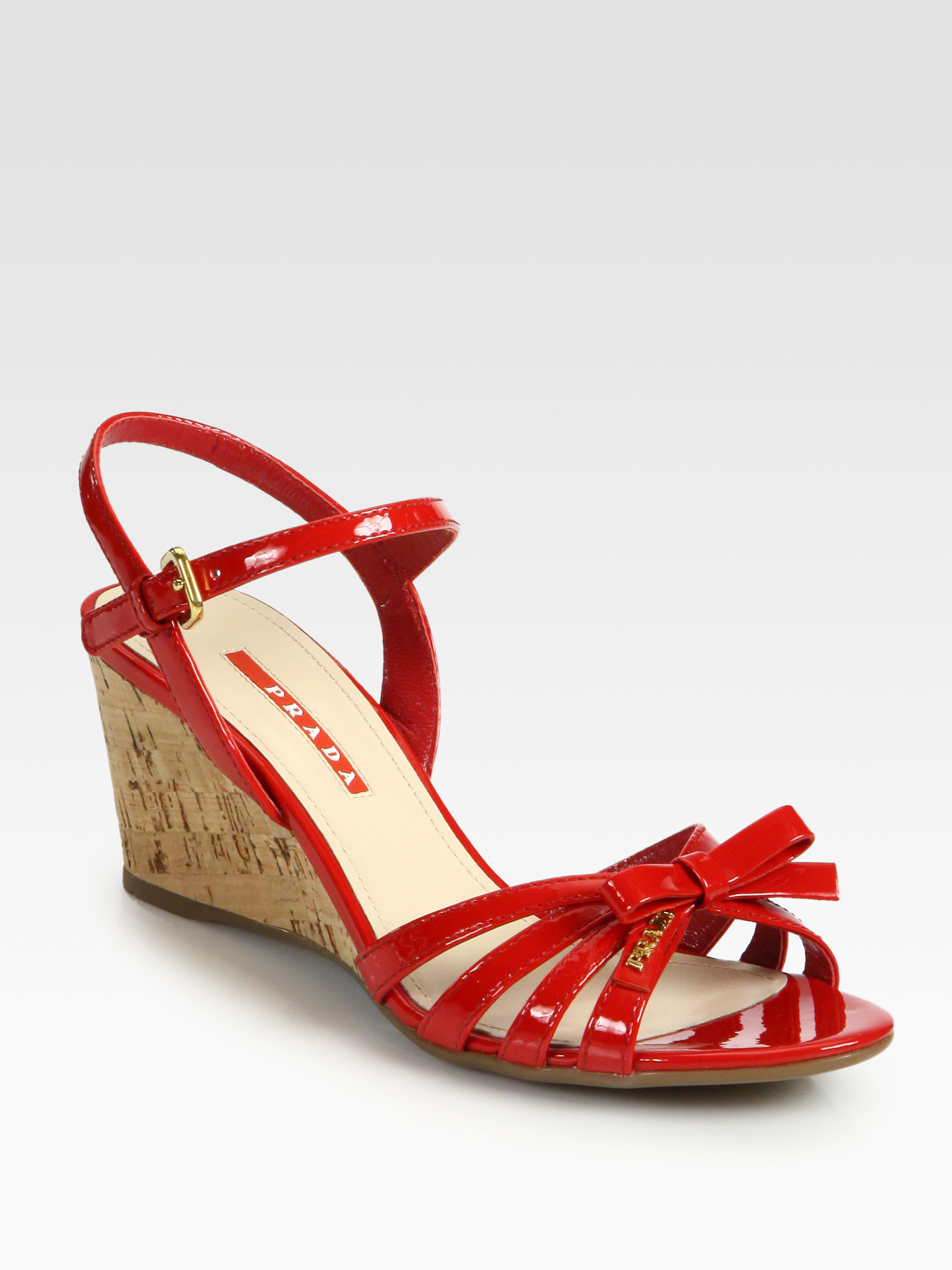 Prada Leather Bow Cork Wedge Sandals In Red Lyst