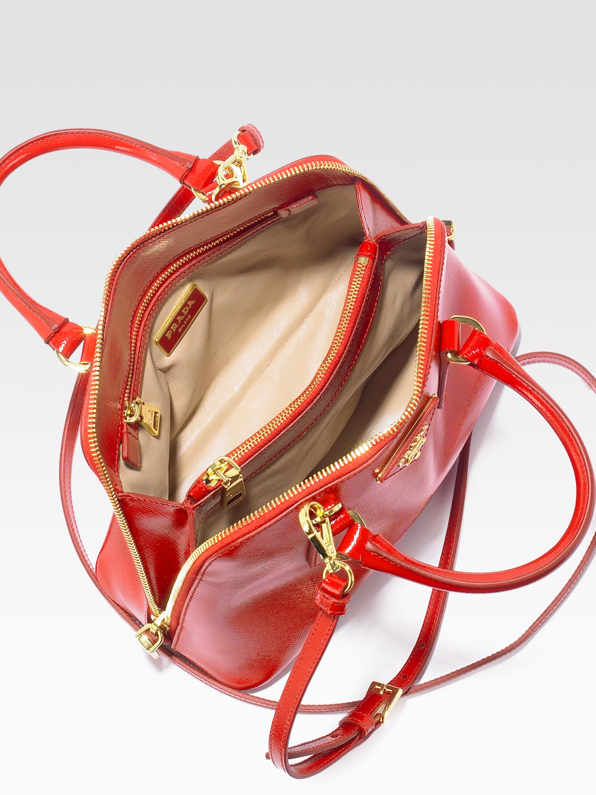 Prada Saffiano Vernice Small Round Top Handle Bag In Black