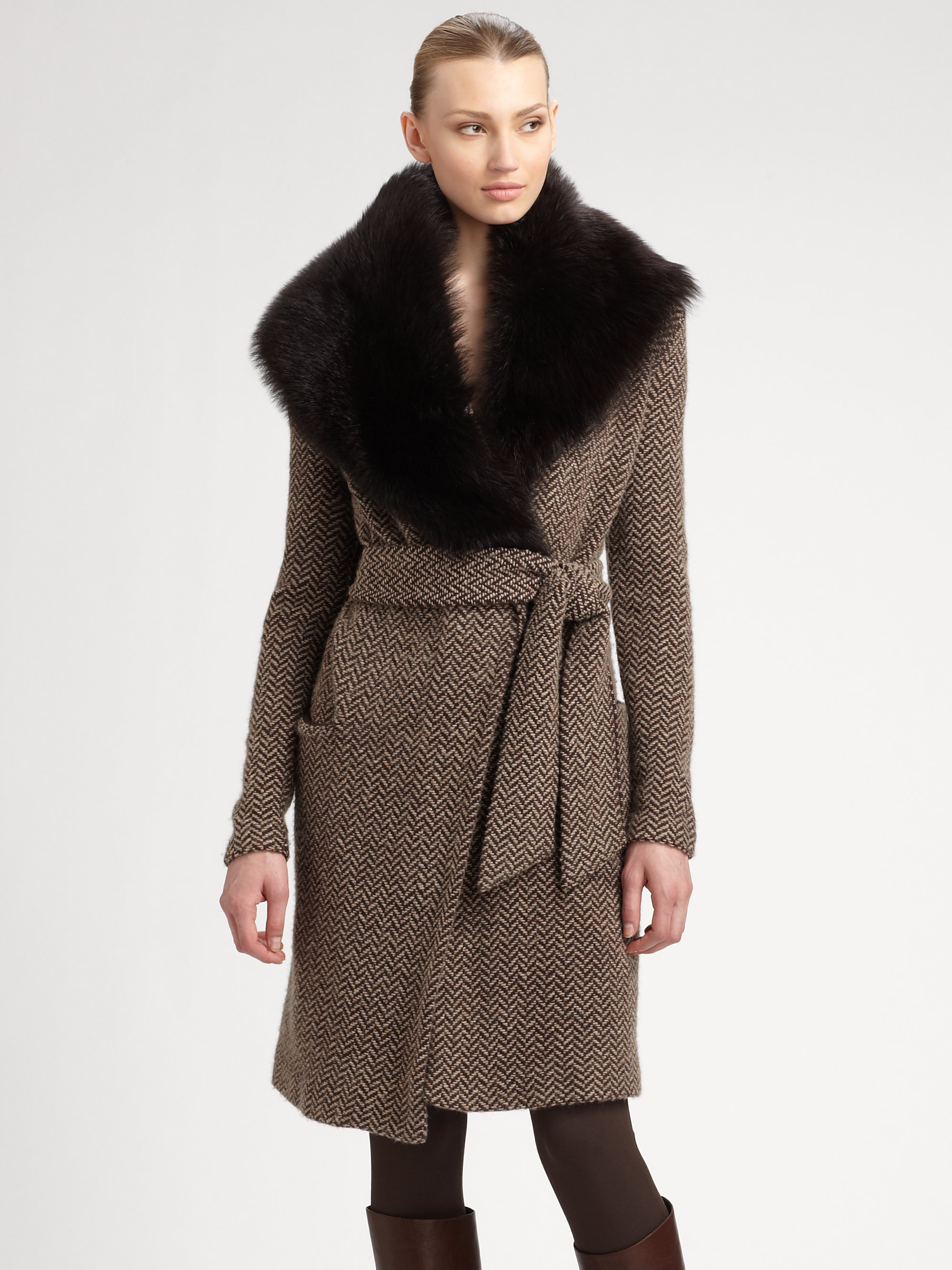 Ralph lauren black label Shearling-collar Wool Sweater Coat in ...