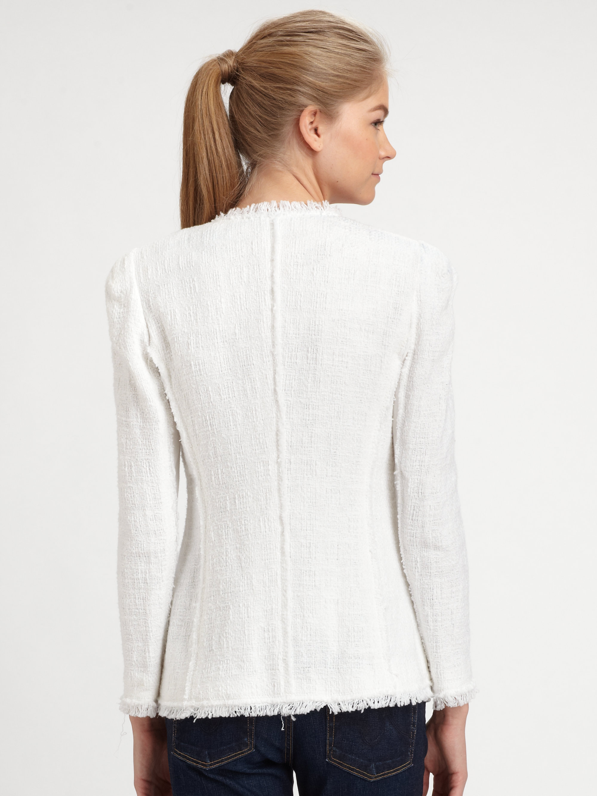 Lyst Rebecca Taylor Tweed Blazer In White