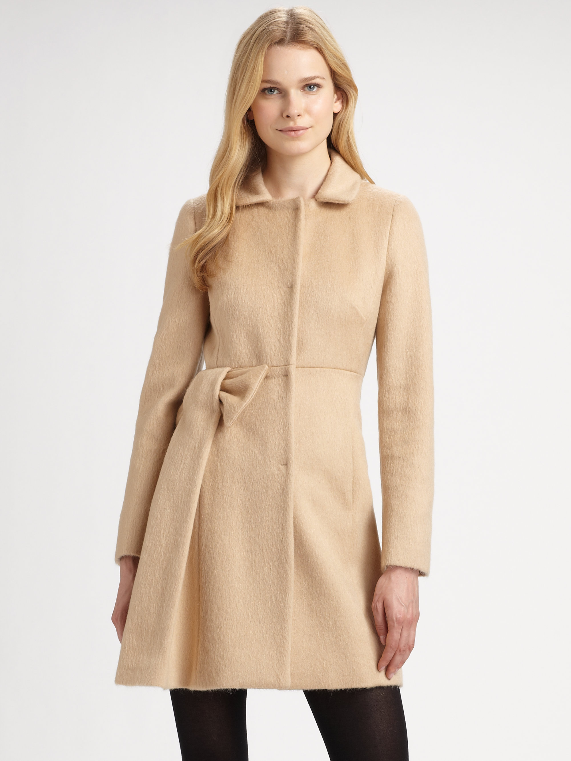 62c35fde8319 RED Valentino Natural Mohair Bow Coat