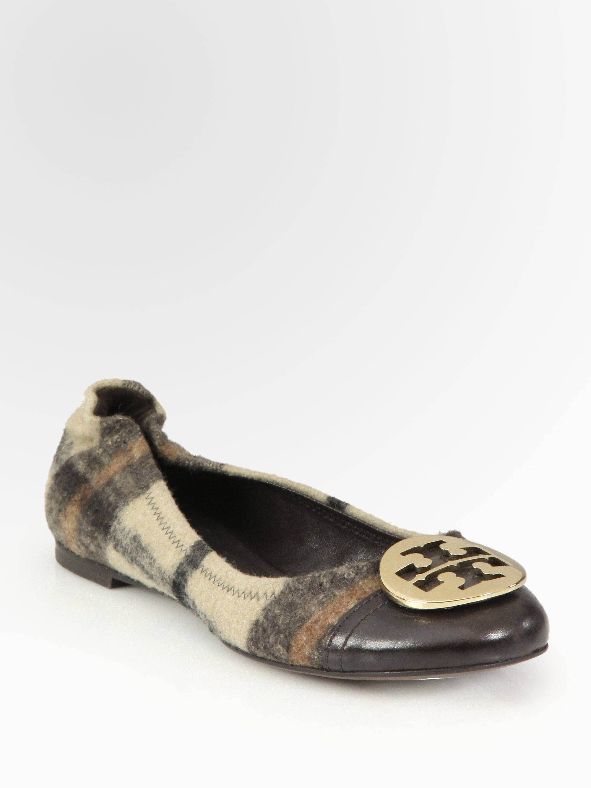 Tory Burch Serena Plaid Wool Leather Ballet Flats In