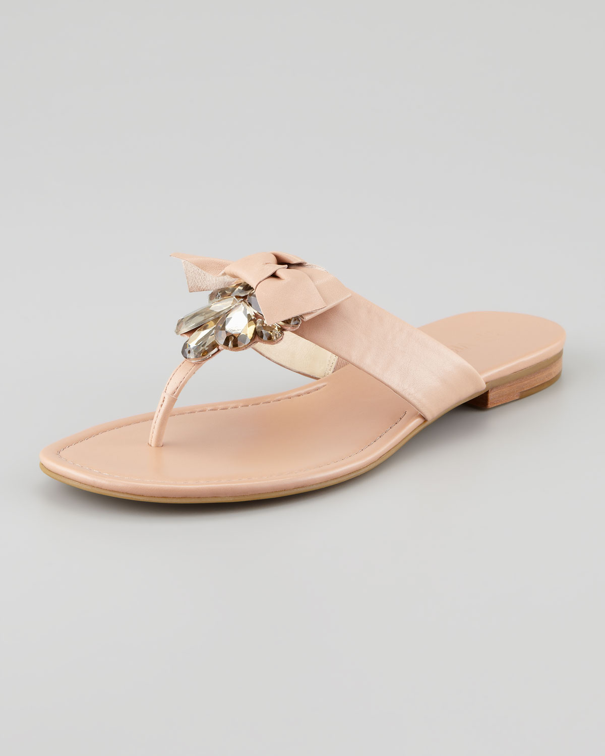 5560d7c13d50 Lyst - Vera Wang Lavender Jeweled Bow Thong Sandal Latte in Natural