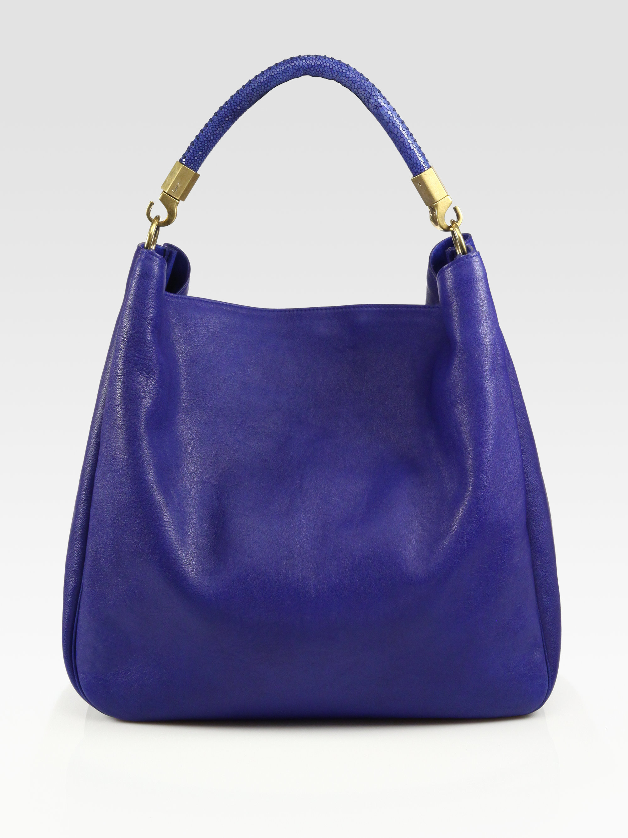 Saint laurent Ysl Large Leather Roady Hobo Bag in Blue (tabacco ...