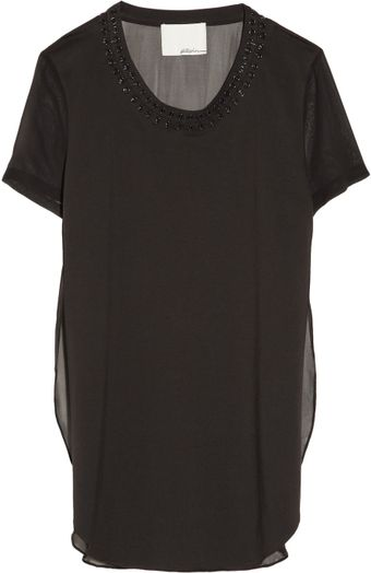 3.1 Phillip Lim Embellished Cotton Jersey and Silk Chiffon Top - Lyst
