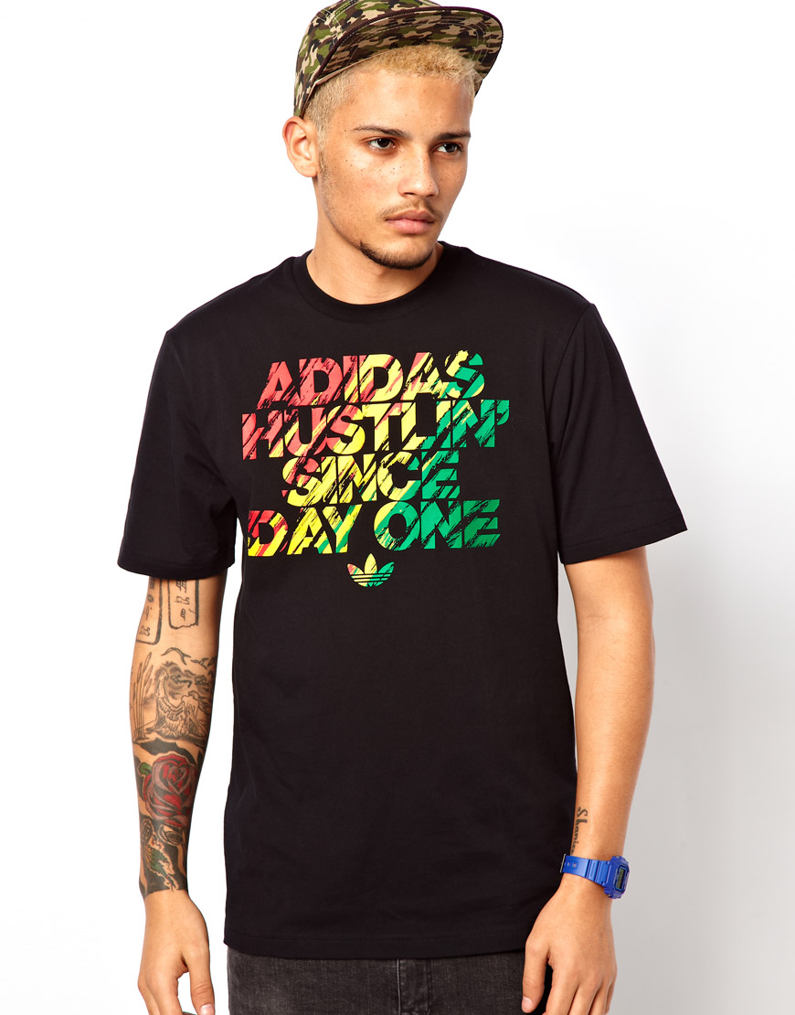 adidas Originals Logo T Shirt In Rasta Print