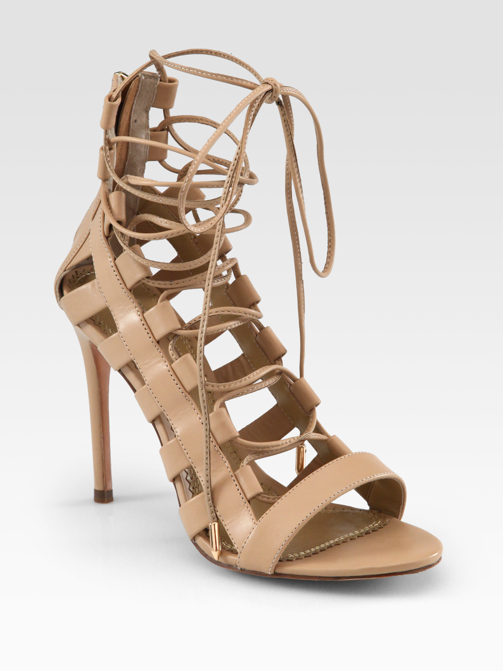 0ef357478bf19 Lyst - Aquazzura Amazon Leather Laceup Sandals in Brown