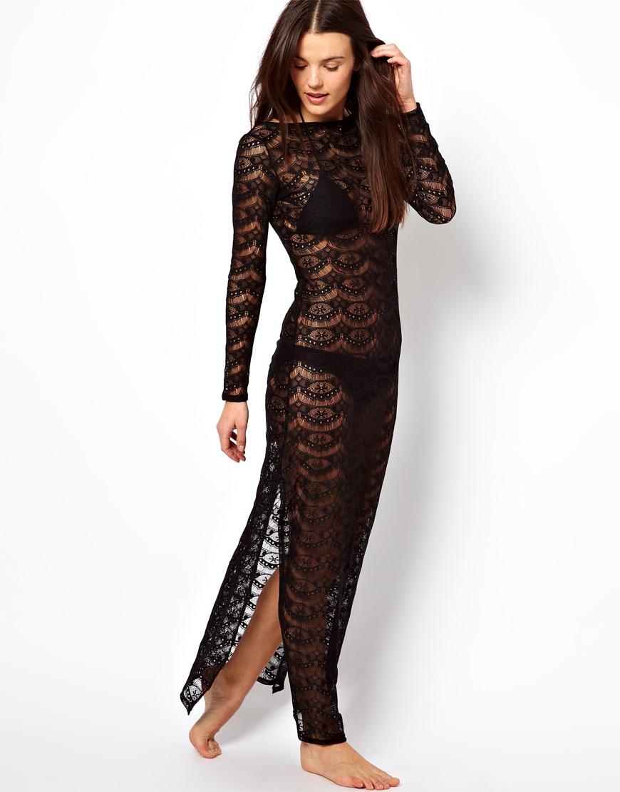 Asos Lace Maxi Beach Dress in Black | Lyst