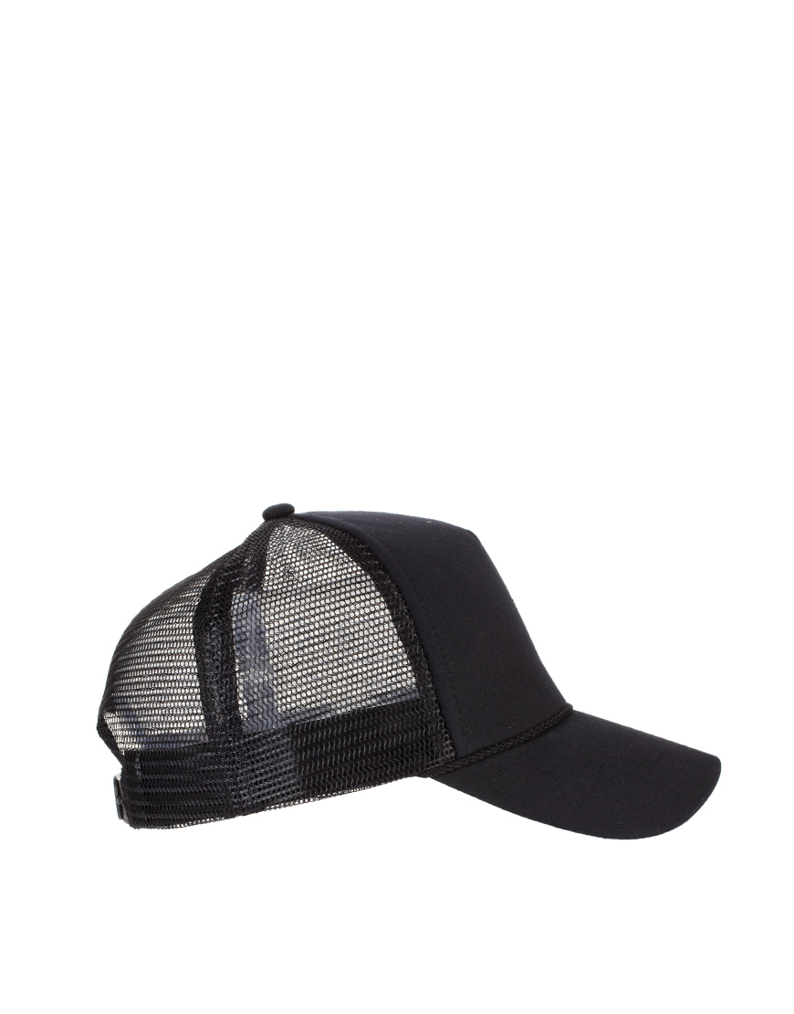 4f49dad5e020ad ASOS Plain Trucker Cap in Black - Lyst