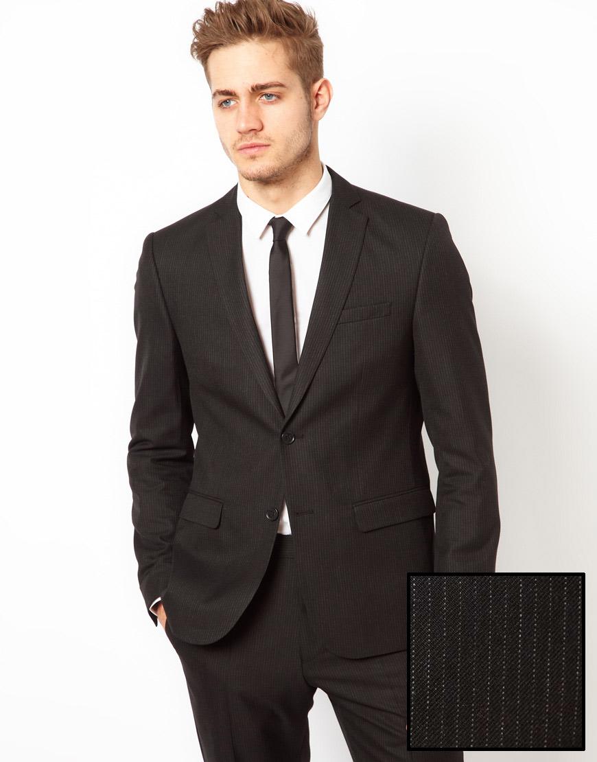 Nike Asos Slim Fit Suit Jacket in Pinstripe in Black for Men | Lyst