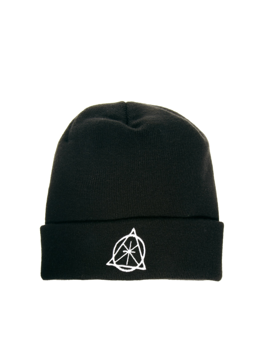 94ff1bf6db2 Lyst - ASOS Symbol Turn Up Beanie in Black for Men