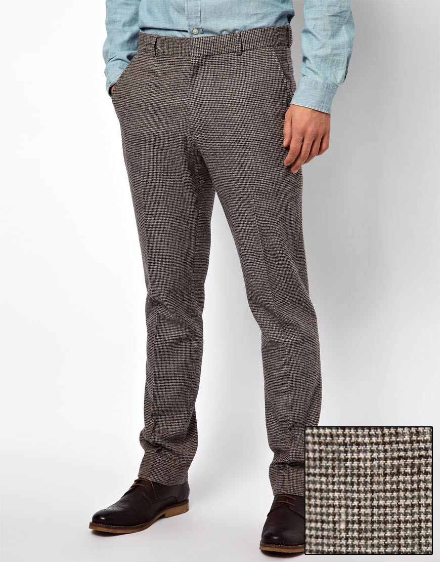 Asos Slim Fit Suit Trousers In Houndstooth in Brown for Men | Lyst