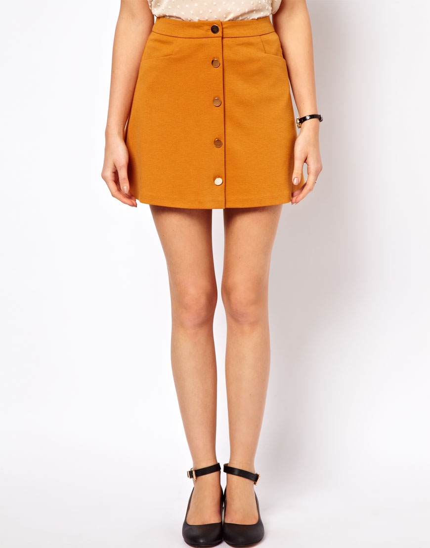 Asos A Line Skirt with Buttons in Yellow | Lyst