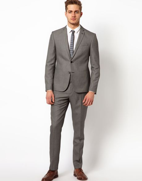 fred perry asos slim fit suit jacket in birdseye in gray. Black Bedroom Furniture Sets. Home Design Ideas