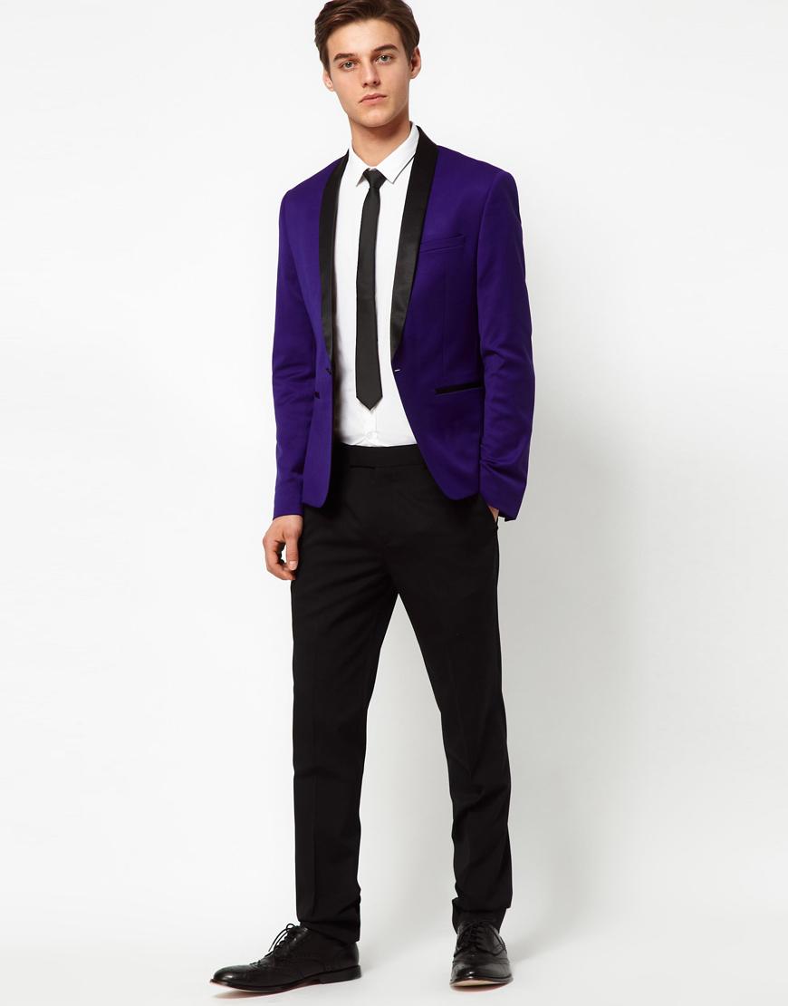 Asos Skinny Tuxedo Suit Jacket In Indigo Polywool in Blue for Men