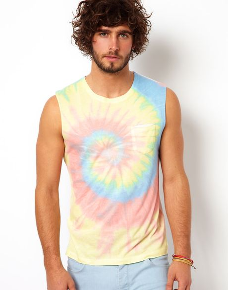 Asos sleeveless t shirt with tie dye effect in multicolor for Tie dye sleeveless shirts