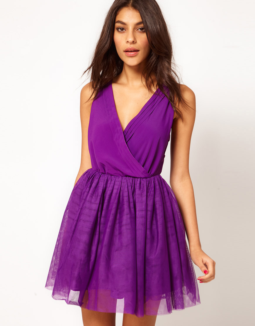 Lyst - Asos Party Dress with Velvet Trim in Natural