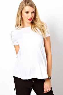 Asos T-Shirt with Lace Shoulder and Back - Lyst