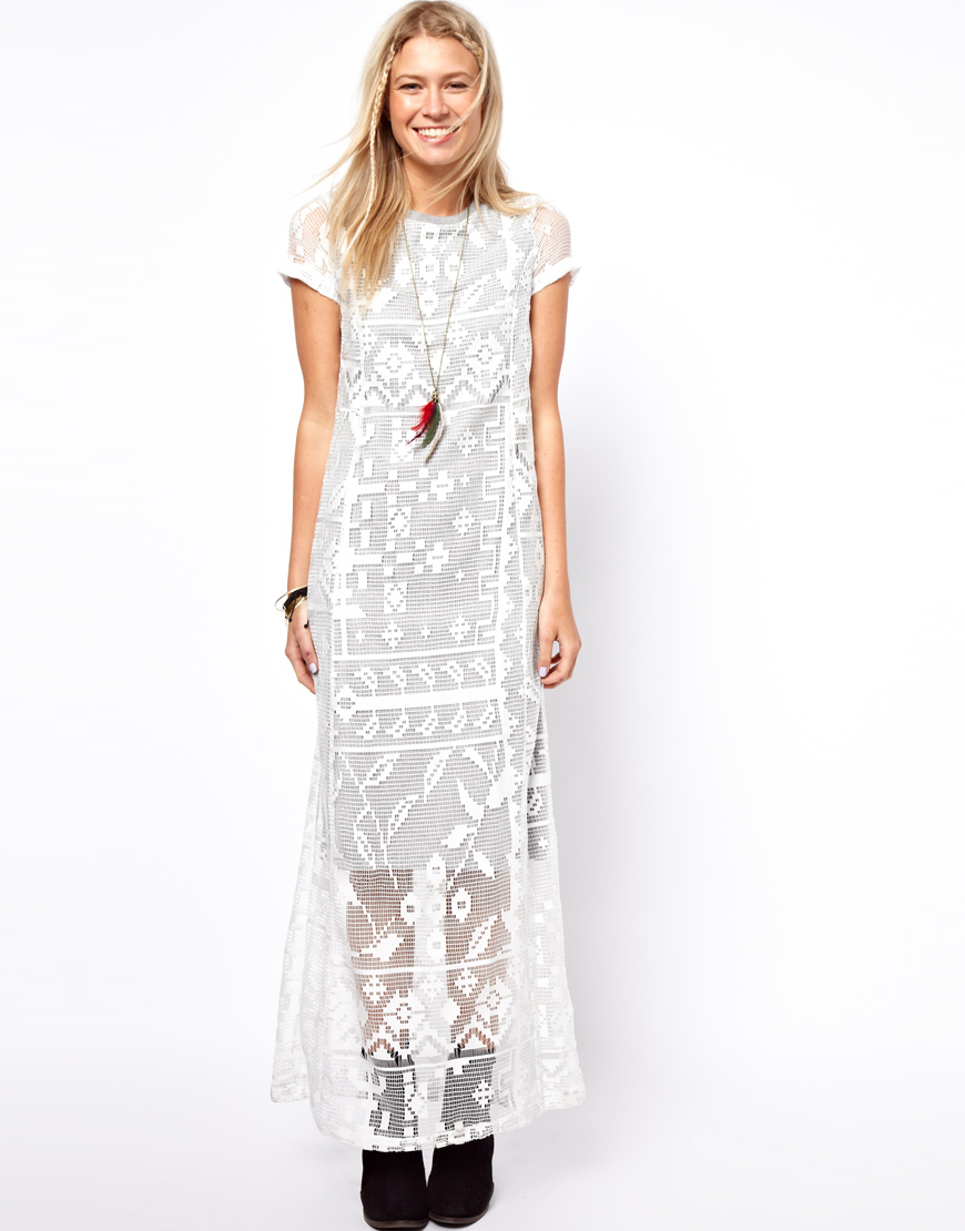 Maxi T Shirt Dress With Lace Overlay