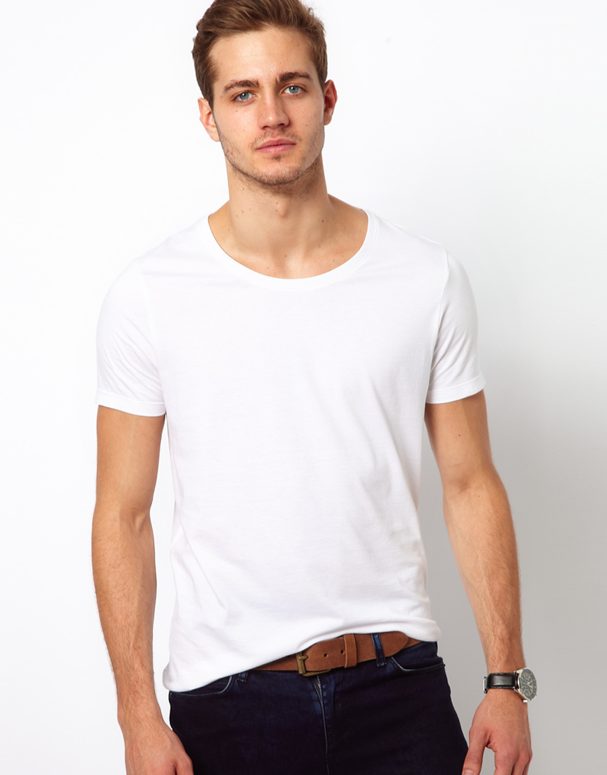 lyst asos t shirt with scoop neck 3 pack save 17 in white for men. Black Bedroom Furniture Sets. Home Design Ideas