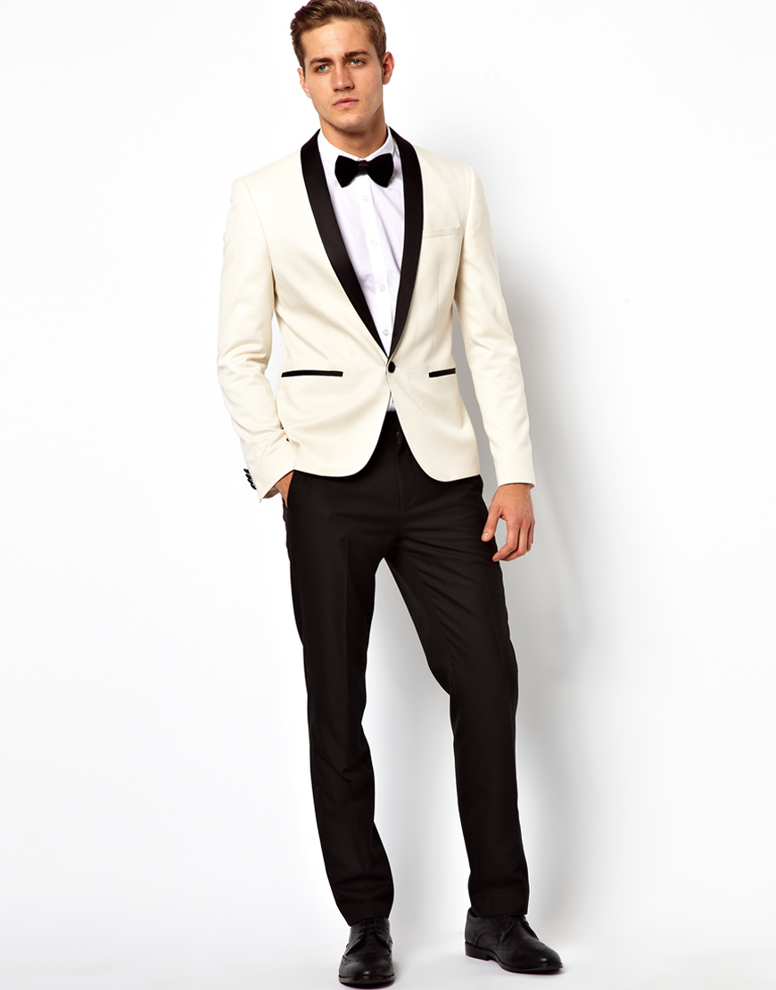 Good Quality River Island skinny jeans with raw hem in light wash blue Hot ASOS Slim Tuxedo Suit In White With Black Contrast Lapel -.