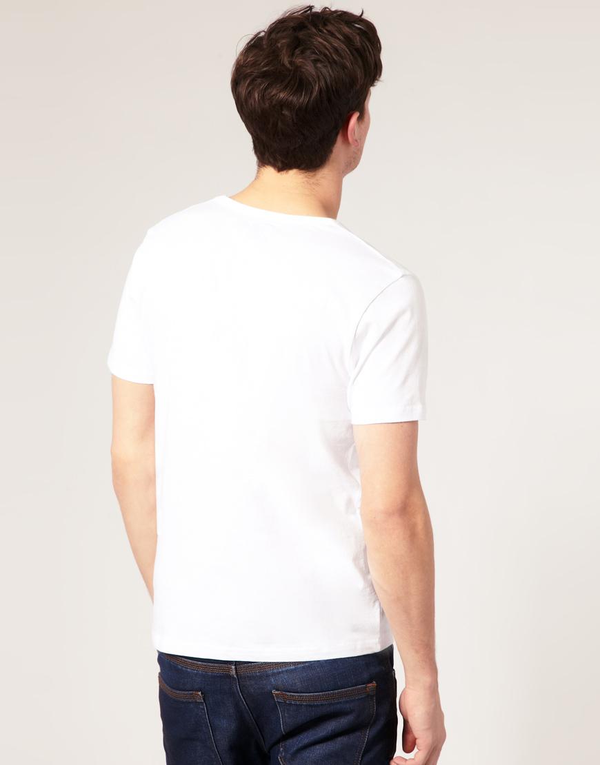 Asos T Shirt With Deep V Neck In White For Men Lyst