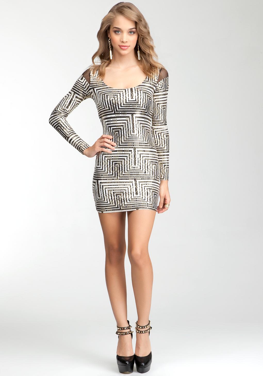 Lyst Bebe Geometric Print Long Sleeve Dress Bebe
