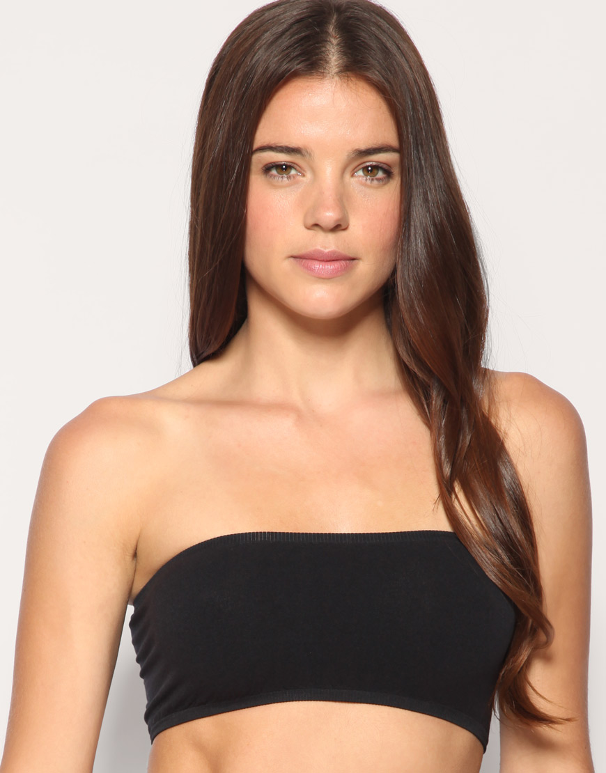 Asos Braza Seam Free Invisible Bandeau Bra in Black | Lyst