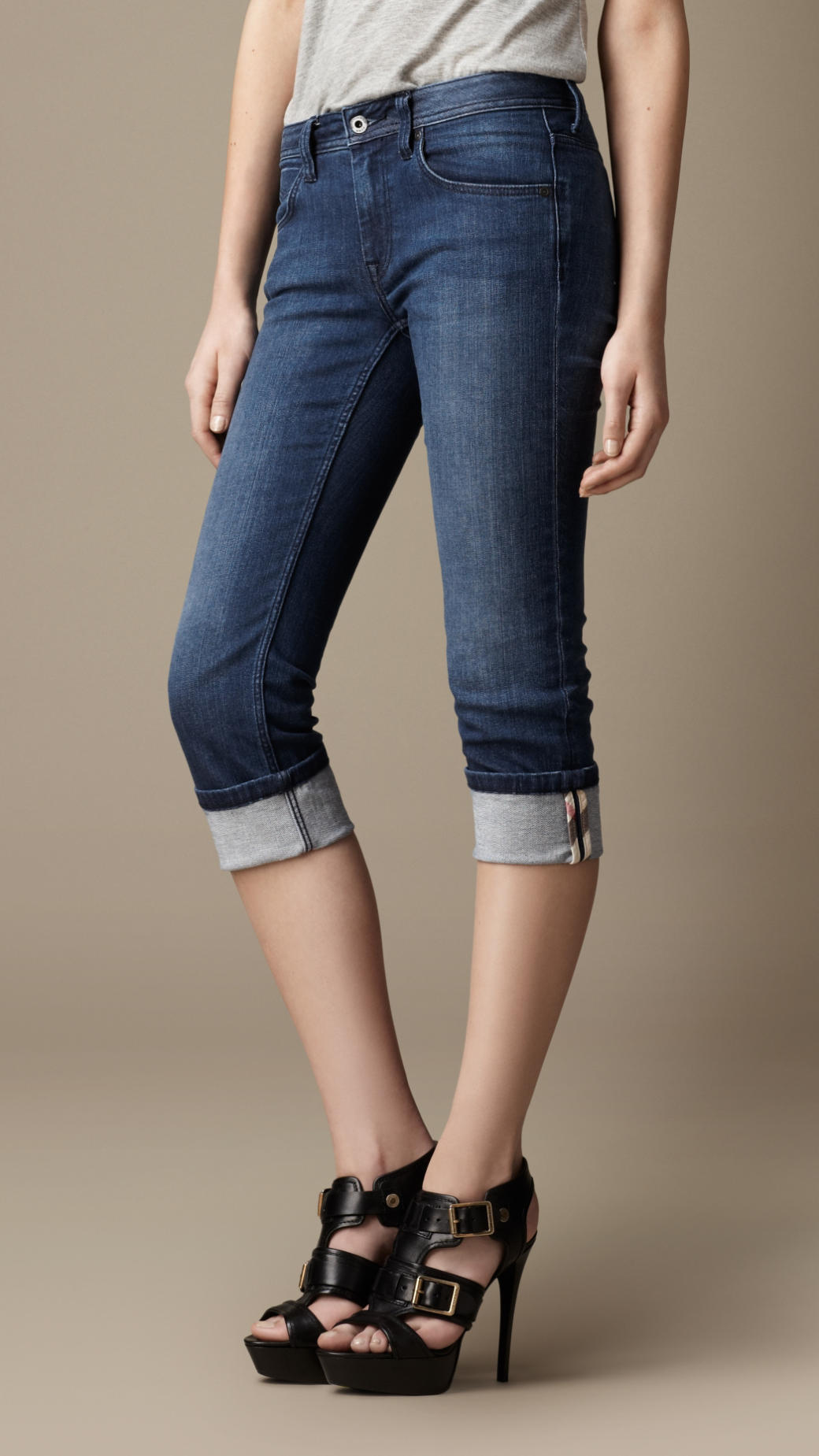 Burberry Buckingham Skinny Fit Capri Jeans in Blue | Lyst