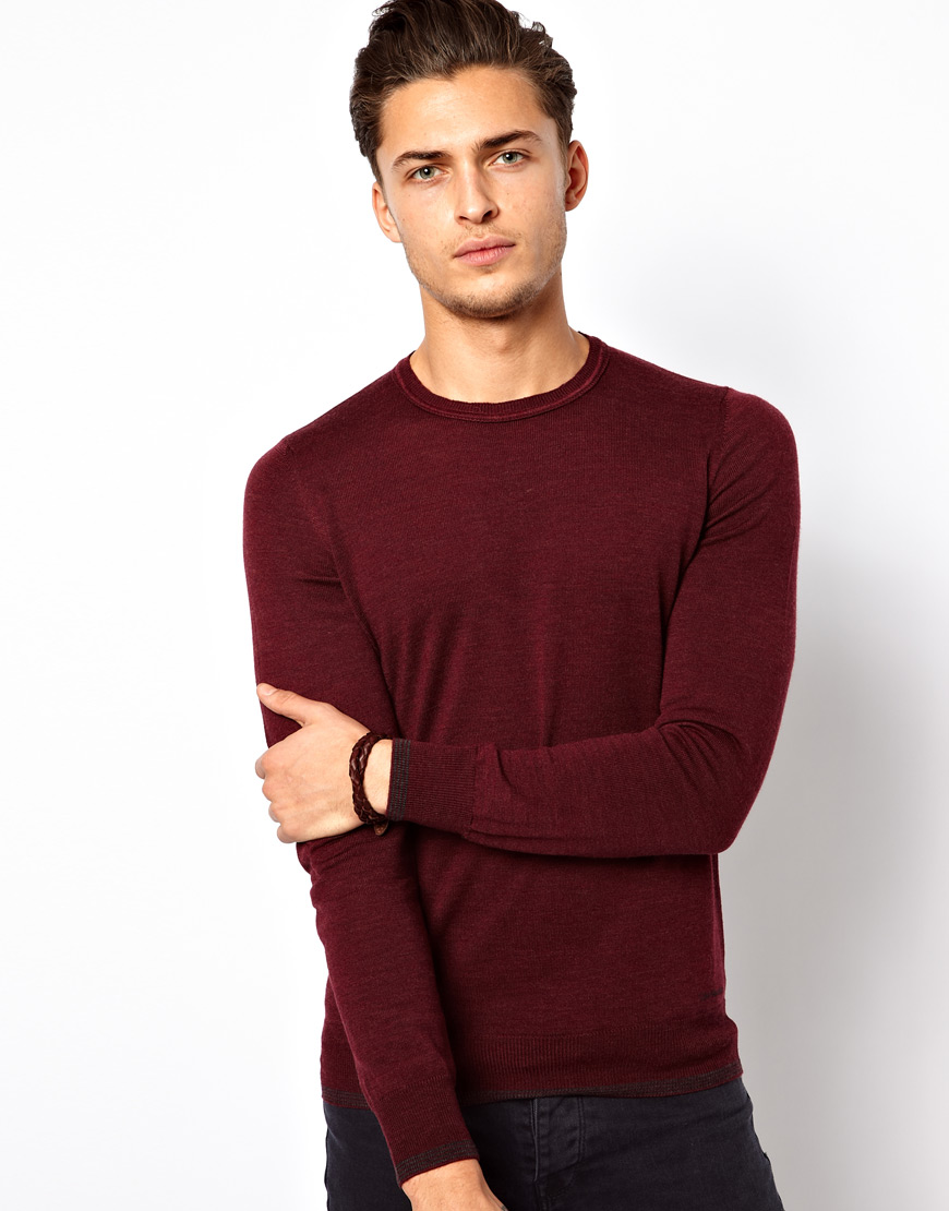 Calvin klein Jumper Merino Wool in Red for Men | Lyst