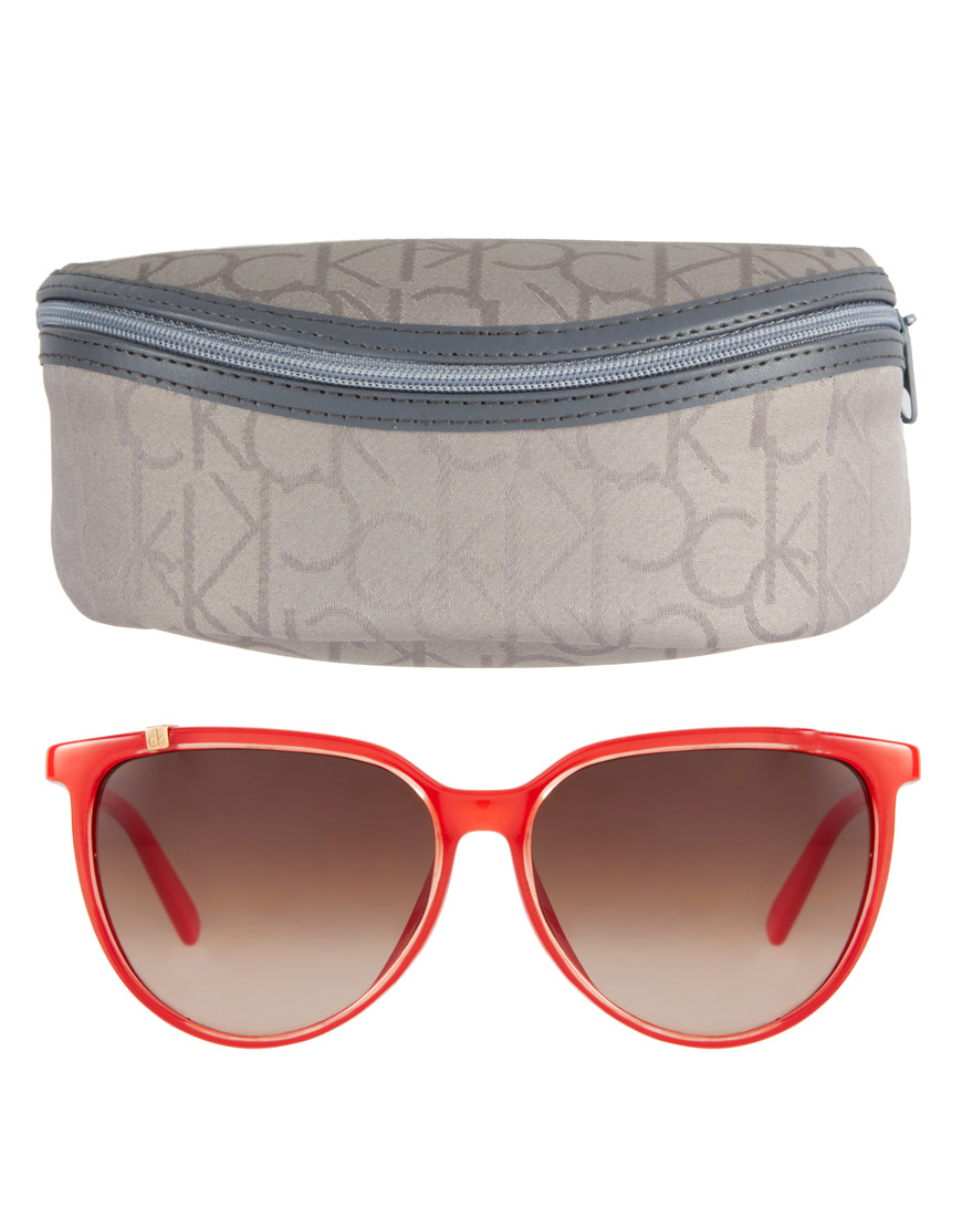 Calvin Klein Cat Eye Sunglasses  calvin klein ck by cat eye sunglasses in red lyst