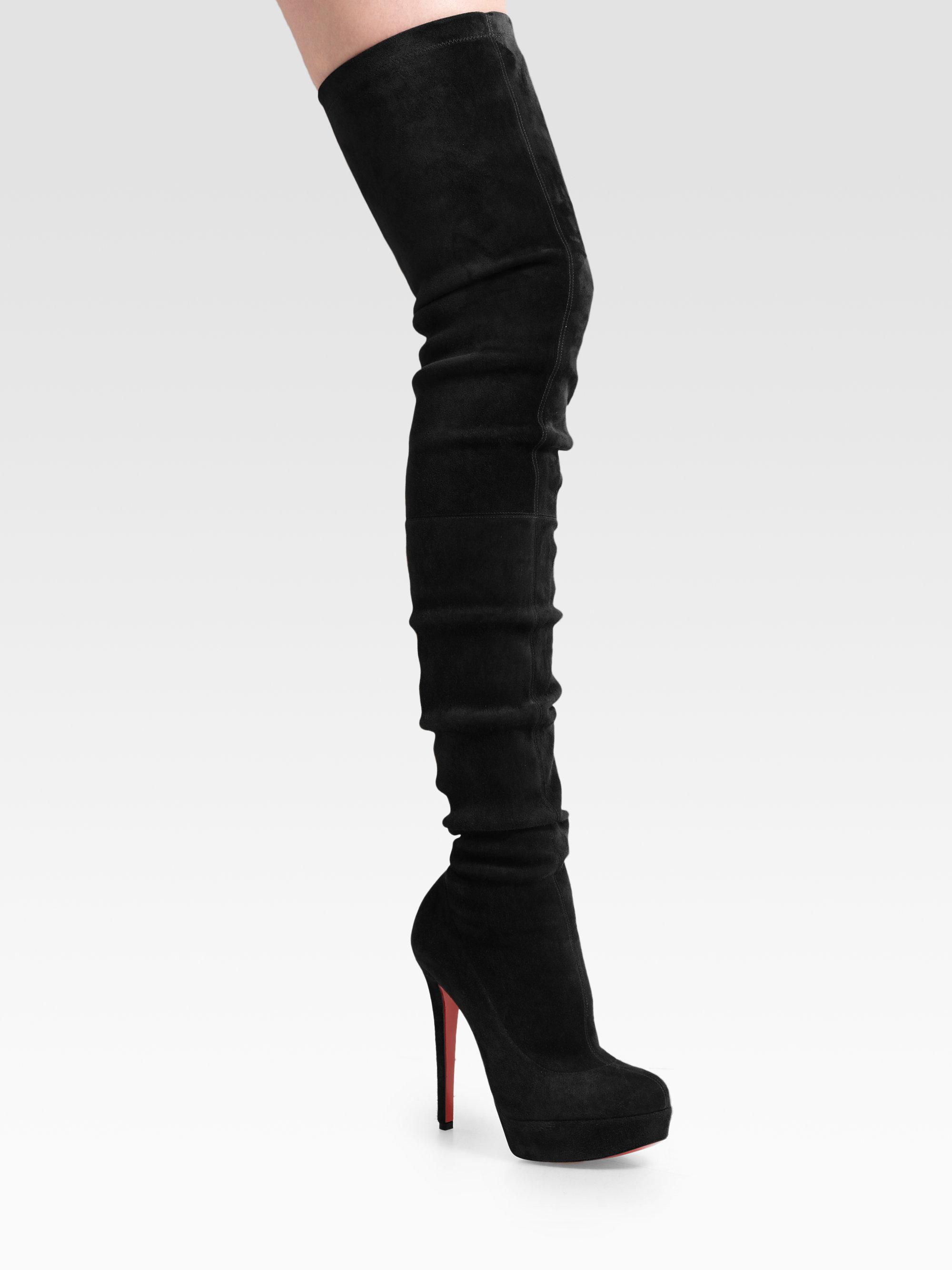 32ce847ad62 Christian Louboutin Black Gazolina Suede Overtheknee Boots