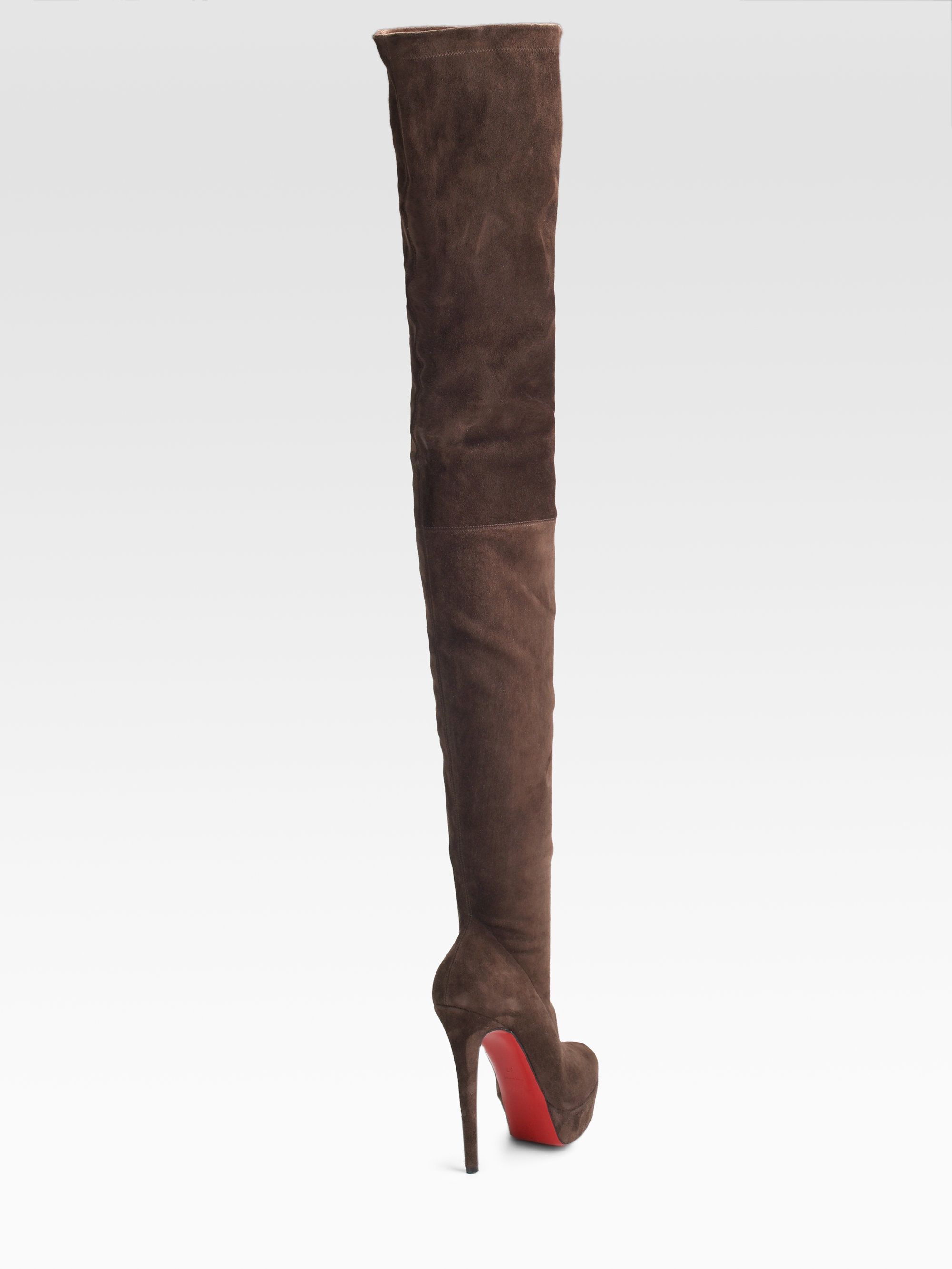 sale retailer b0779 279f7 Christian Louboutin Black Gazolina Suede Overtheknee Boots