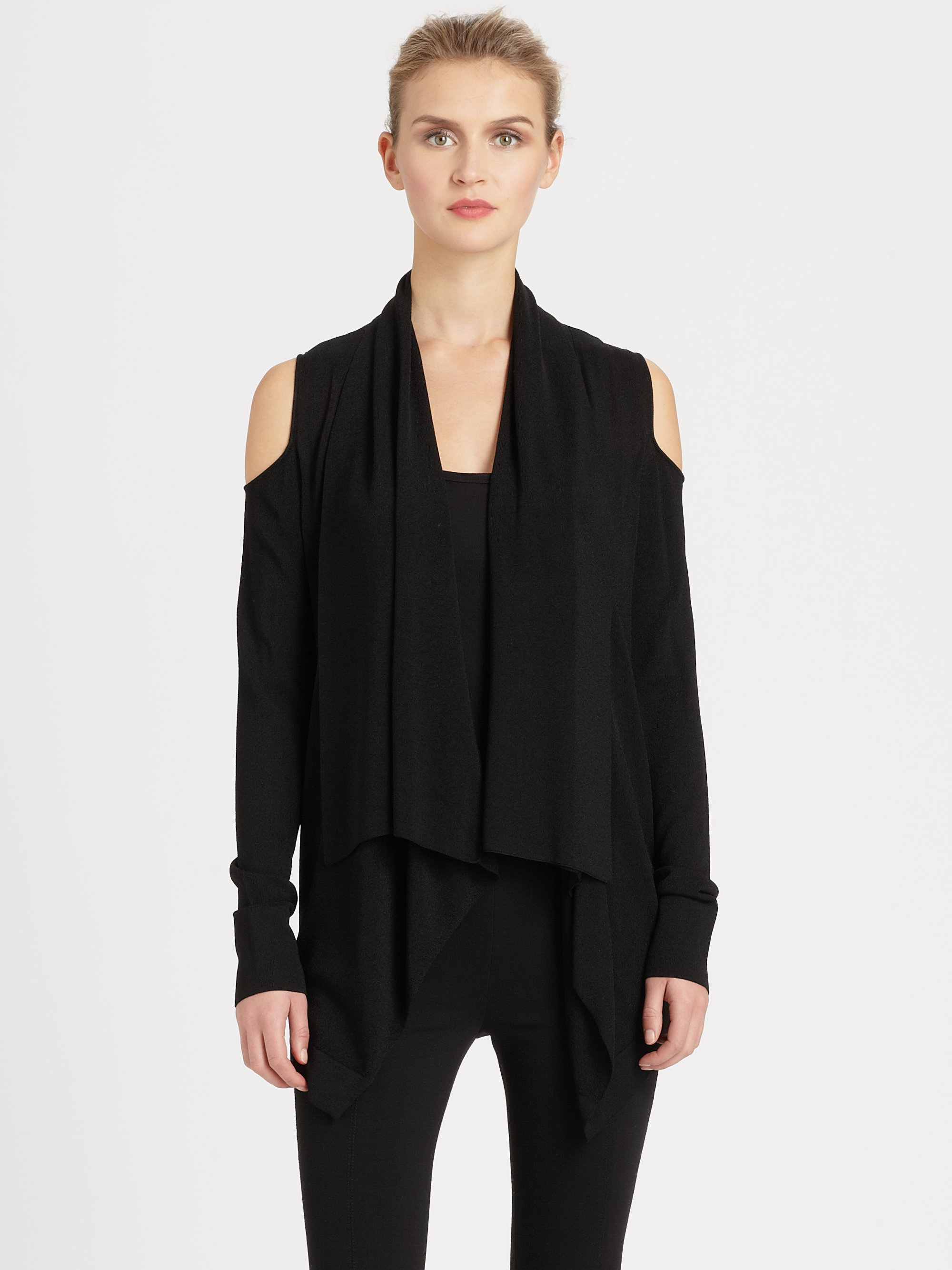 Donna karan new york draped cutoutshoulder cardigan in for Donna karen new york