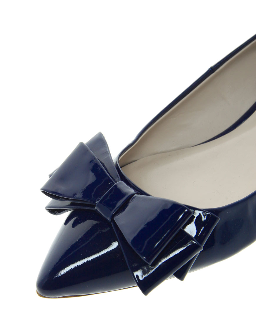 Lyst Dune Lavish Pointed Toe Bow Flats In Blue