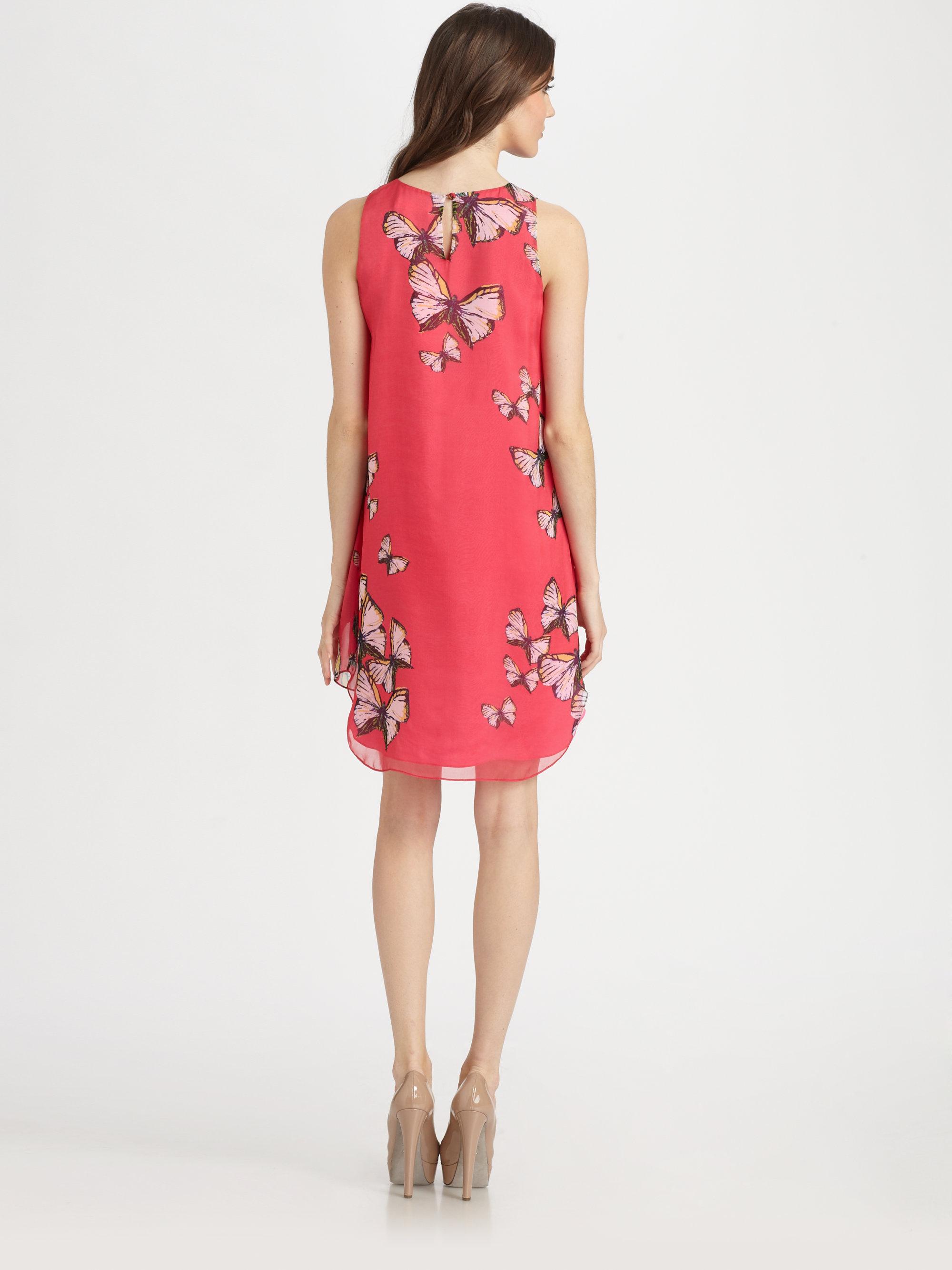 Erin Erin Fetherston Silk Butterfly Dress In Pink Lyst