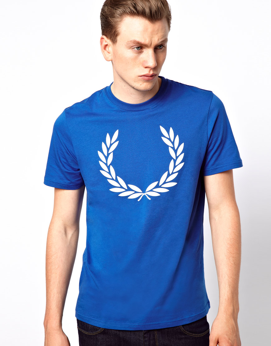 fred perry t shirt with laurel print in blue for men lyst. Black Bedroom Furniture Sets. Home Design Ideas