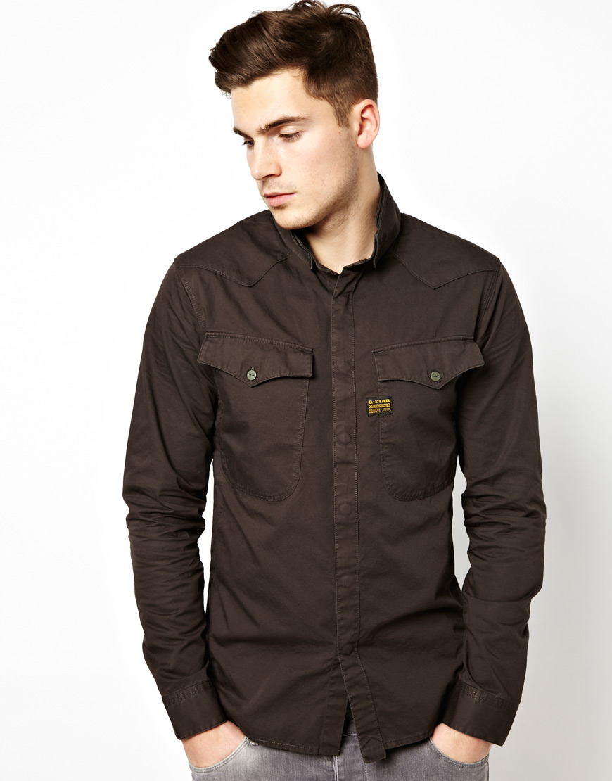 Lyst G Star Raw Shirt Officer In Brown For Men