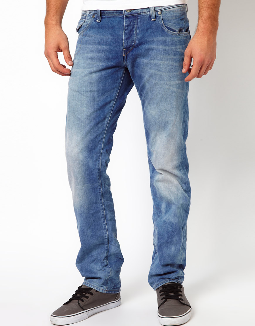 lyst g star raw morris low straight leg jeans in blue. Black Bedroom Furniture Sets. Home Design Ideas