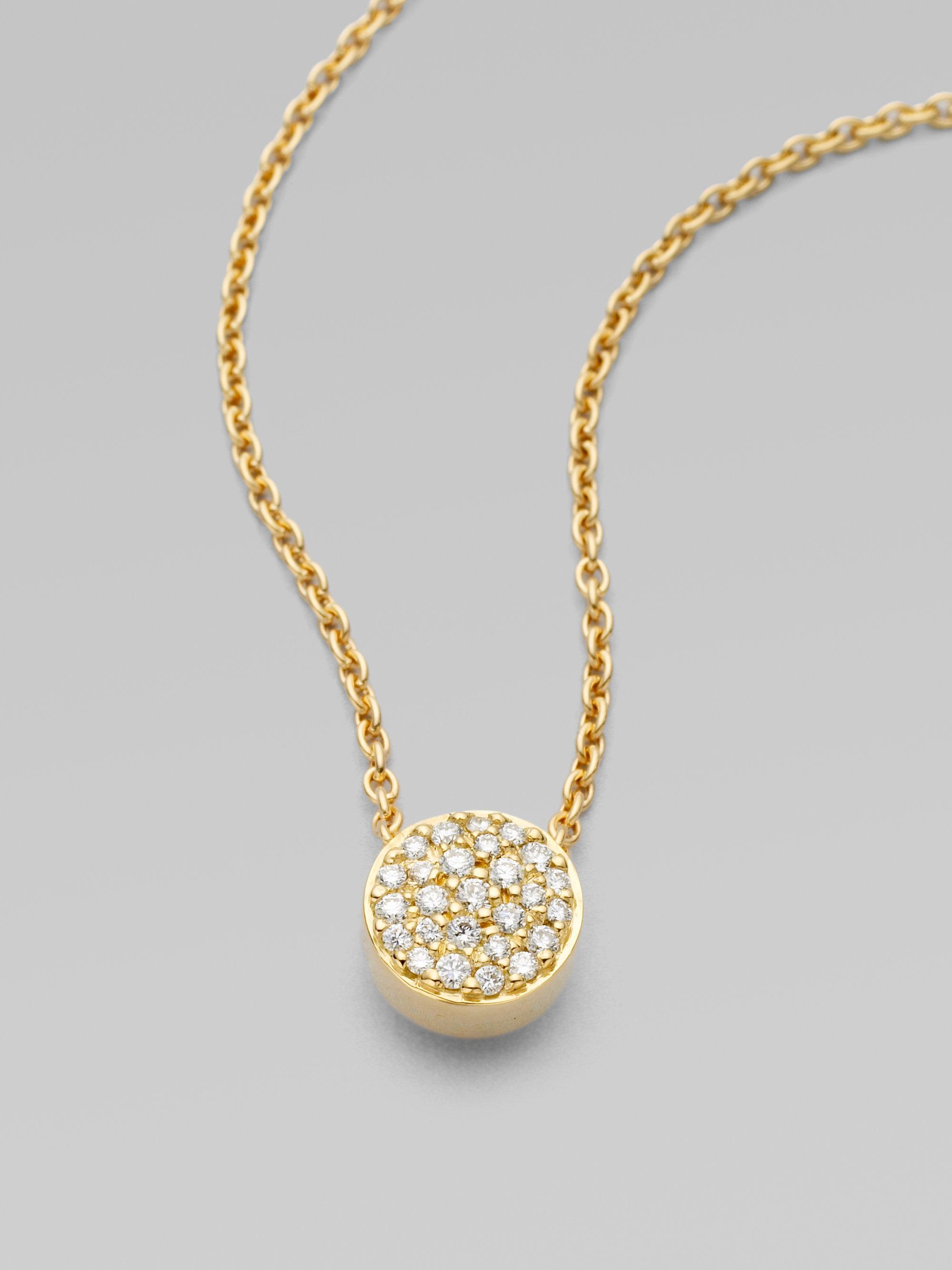 Lyst georg jensen 18k yellow gold pav diamond pendant necklace in gallery aloadofball Images