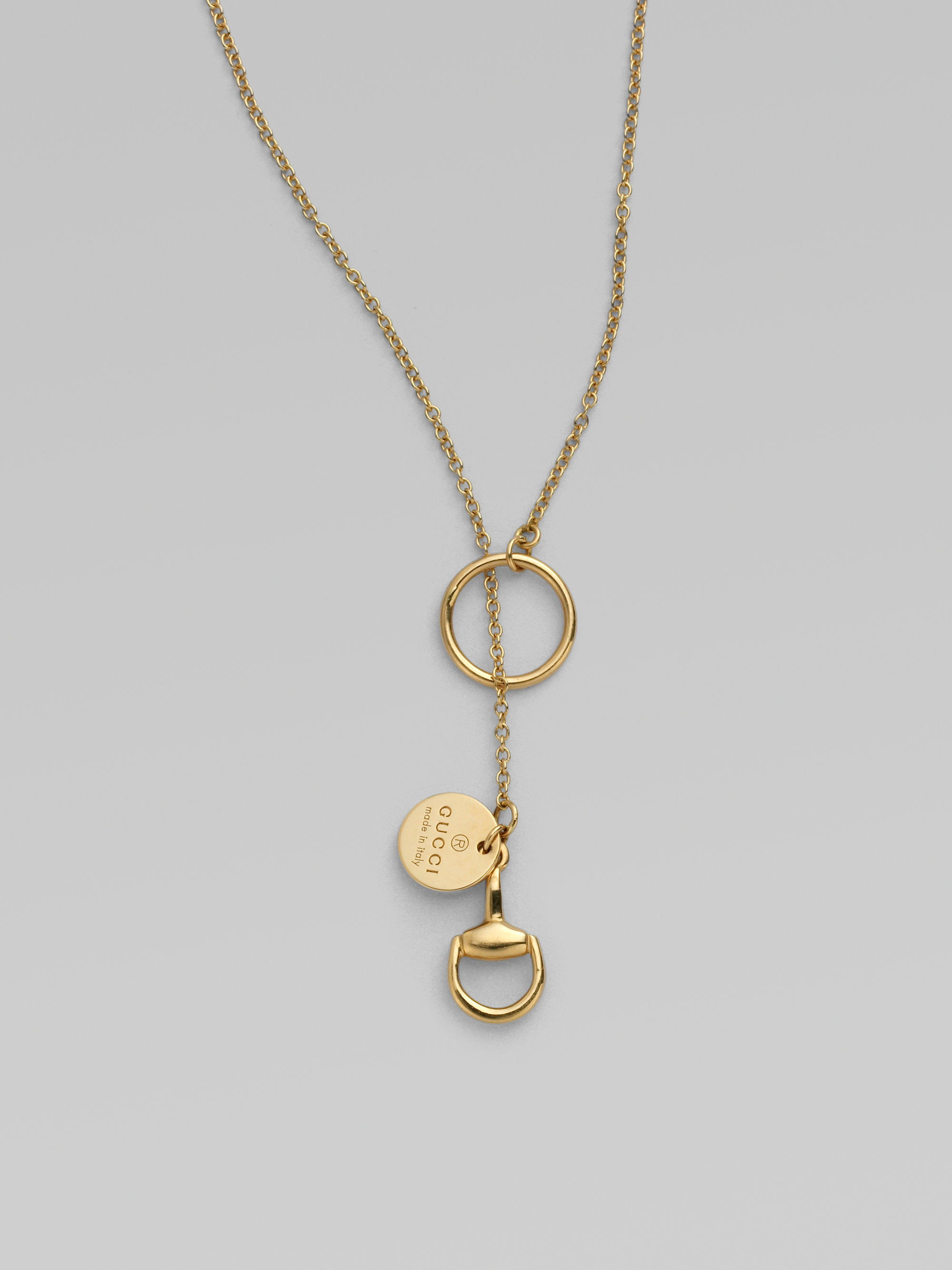 d9676378 Gucci Metallic 18k Gold Horsebit Lariat Necklace