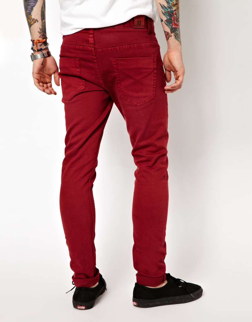 Insight City Riot Slim Fit Red Overdye Jeans in Red for Men | Lyst