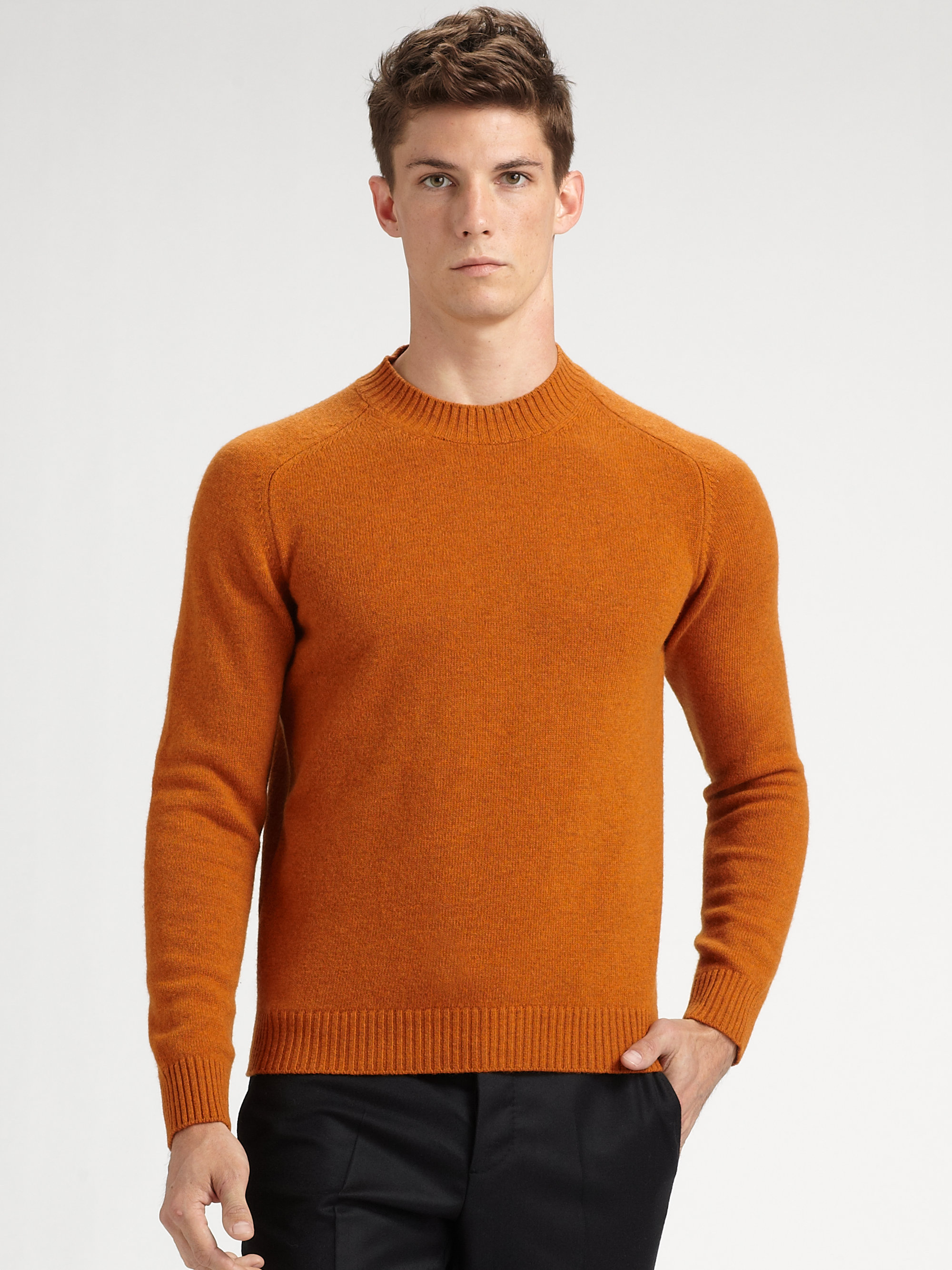 lyst jil sander wool crewneck sweater in orange for men. Black Bedroom Furniture Sets. Home Design Ideas